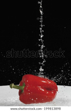 Red bell pepper under jet of water - stock photo
