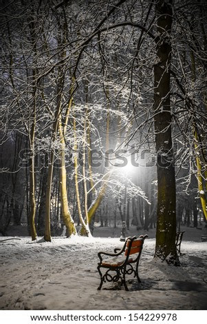 Red bench in the park covered with snow at night