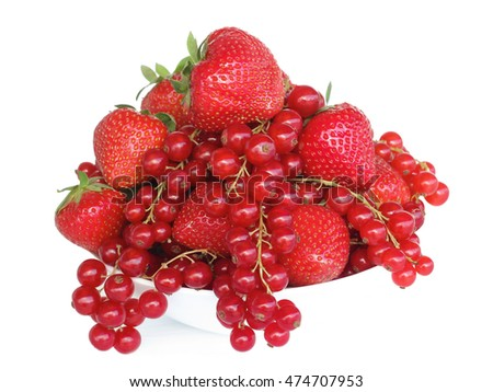 Red berries -  mixed strawberries and red currants in a bowl. Healthy, organic, vegan  food, vitamins concept. Isolated on white background.