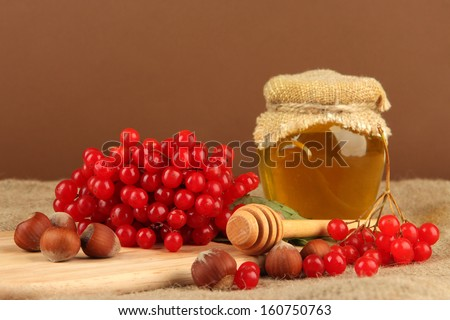 Red berries of viburnum with honey and nuts on table on brown background