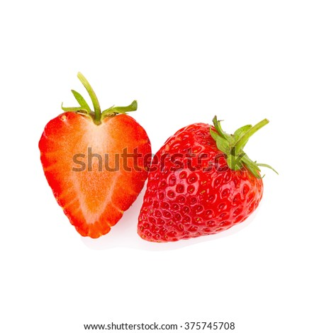 Red berry strawberry isolated on white background. - stock photo
