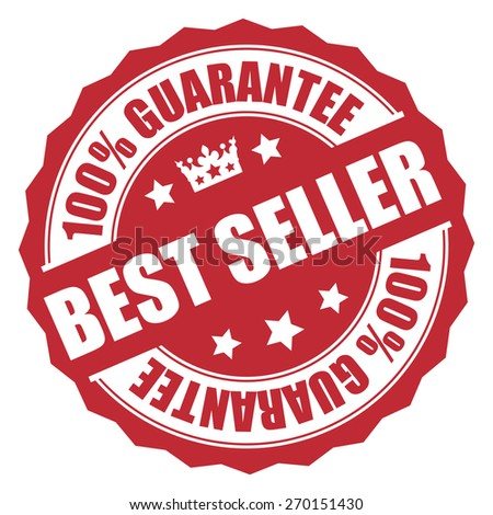 Red Best Seller 100% Guarantee Banner, Sign, Tag, Label, Sticker or Icon Isolated on White Background - stock photo