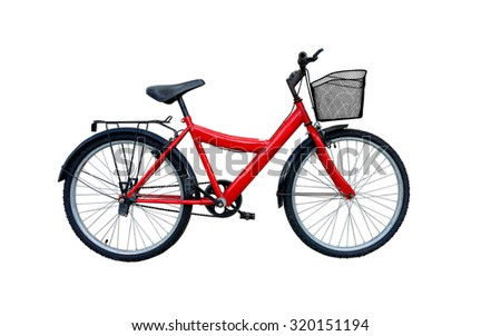 Red bicycle isolated on a white background.With clipping path - stock photo