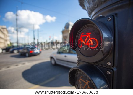 Red bicycle traffic light - stock photo