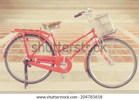red bike old retro vintage style - stock photo