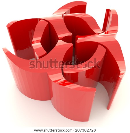 Red biohazard radiation symbol in isolated background, create by 3D - stock photo