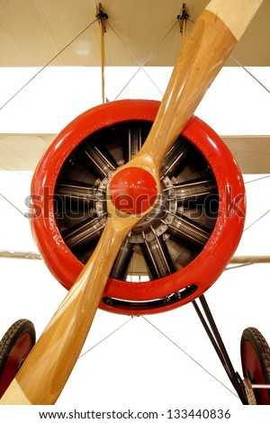 Red Biplane -  Engine with  with Propeller