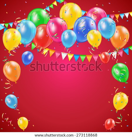 Red Birthday background with colorful balloons, pennants and confetti, illustration. - stock photo