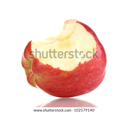 Red bitten apple isolated on white - stock photo