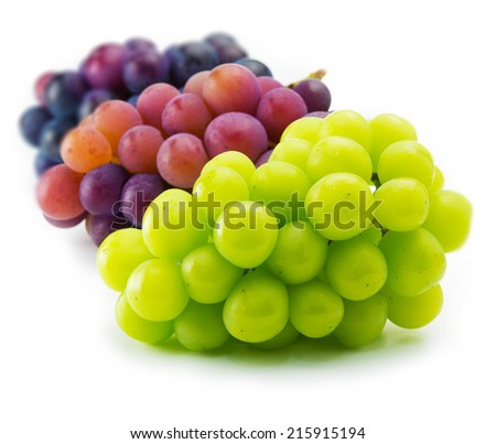 red, black and white (green) grapes isolated on white. - stock photo
