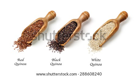 Red, black and white quinoa seeds isolated on a white background - stock photo