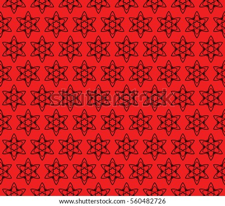 Red Black Color Fancy Floral Seamless Pattern Geometry Design Raster Copy
