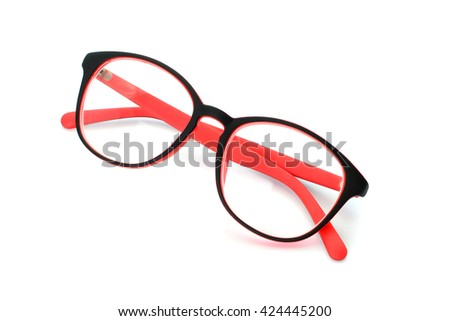 red black eye glasses isolated on white background - stock photo