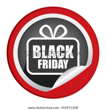 Red Black Friday  Promotion Campaign Infographics Icon on Circle Peeling Sticker Isolated on White Background  - stock photo