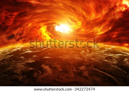 Red black hole sucking up the planet Earth 'elements of this image furnished by NASA' - stock photo