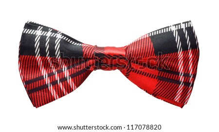 Red black plaid bow tie isolated on white - stock photo