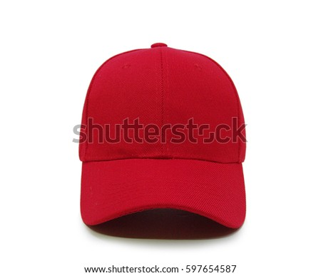 red and white striped baseball cap stock photo blank closeup front view background blue caps