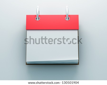 Red blank calendar icon front view 3d render - stock photo