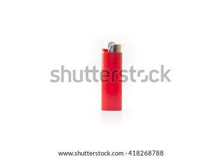 Red blank gas lighter stand isolated on a white background. Empty surface cigar-lighter design presentation. - stock photo