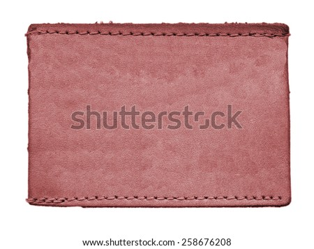red blank leather jeans label on white  background  - stock photo