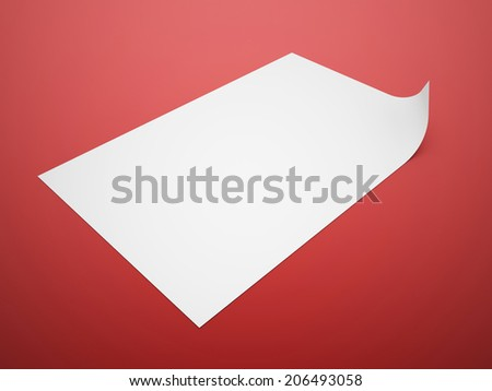 Red blank papers concept rendered