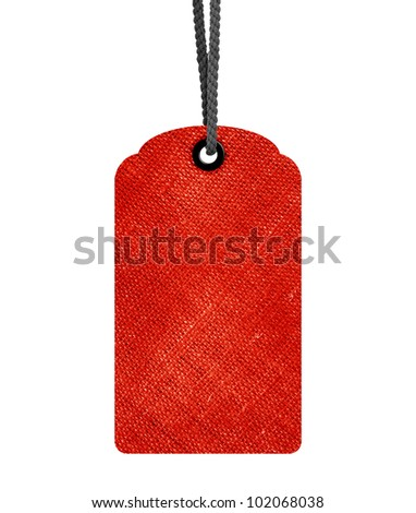 Red Blank price tag isolated on white background with copy space and path. - stock photo