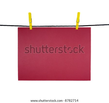 red blank sheet on clothes-line for your notice