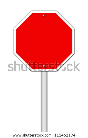 red blank sign on white - stock photo