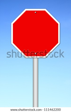 red blank sign with blue sky - stock photo