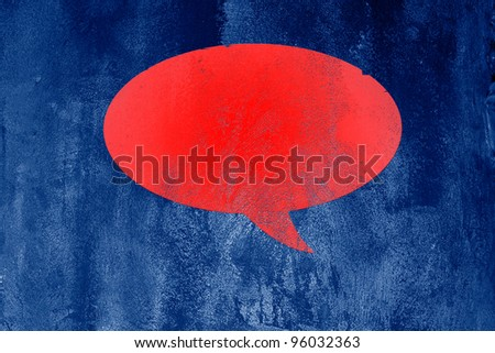 Red blank Speech Bubble on abstract  blue background