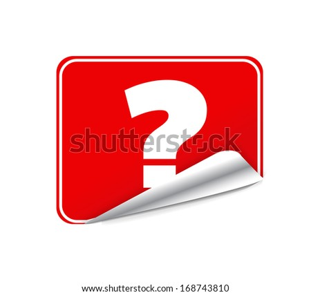 Red Blank Sticky Paper Question Mark Isolated on White Background. Raster copy
