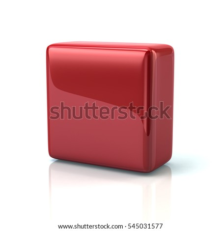 Red block 3d rendering on white background