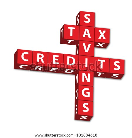 Red block letters of words Tax Savings and credits isolated on white - stock photo