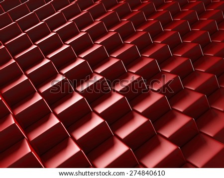 Red Blocks Abstract Shiny Background. 3d Render Illustration - stock photo