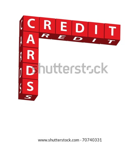 Red blocks spelling credit cards on a white background, credit cards - stock photo