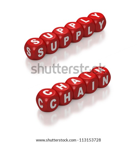 Red blocks with concept of Supply Chain on white background - stock photo