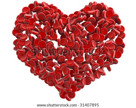 red blood cells heart isolated - stock photo