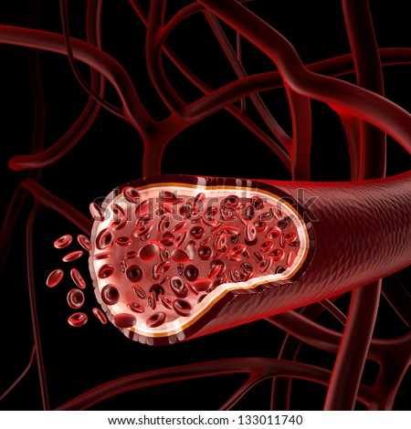 Red blood cells in a vein on a background, 3D render. - stock photo