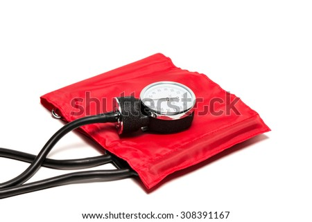 red Blood pressure cuff, close-up isolated