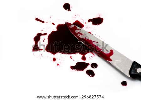 Red blood splatter with kitchen knife on white background - stock photo