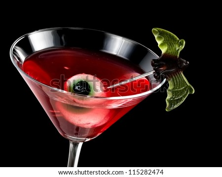 Red bloody halloween cocktail - stock photo