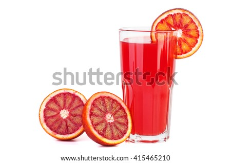 Red bloody orange juice isolated on white background - stock photo