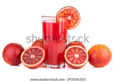Red bloody oranges and glass of juice isolated on white background - stock photo