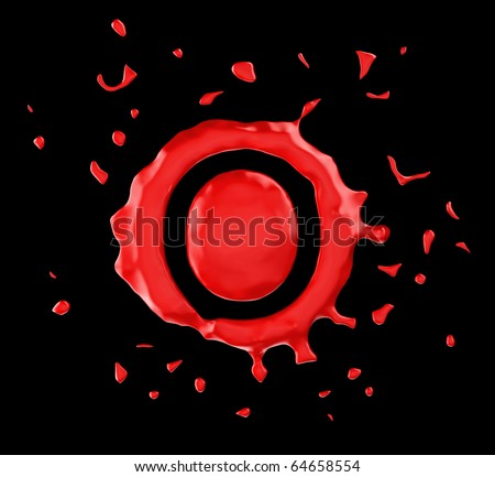 Red blot O letter over black background. Large resolution - stock photo