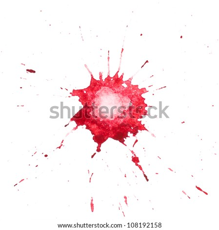 Red blot of watercolor paint - stock photo