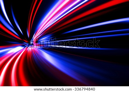 red blue acceleration speed motion on night road - stock photo