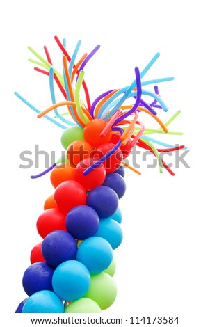 Red, blue, and green balloons on white background - stock photo