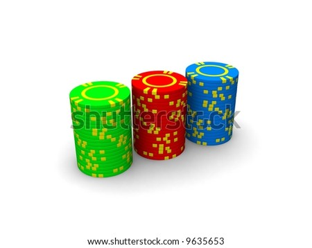red blue and green casino chips