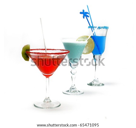Red, blue and green  cocktails  isolated on white background