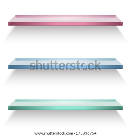 Red, blue and green glass shelves isolated on white background. Raster version illustration. - stock photo